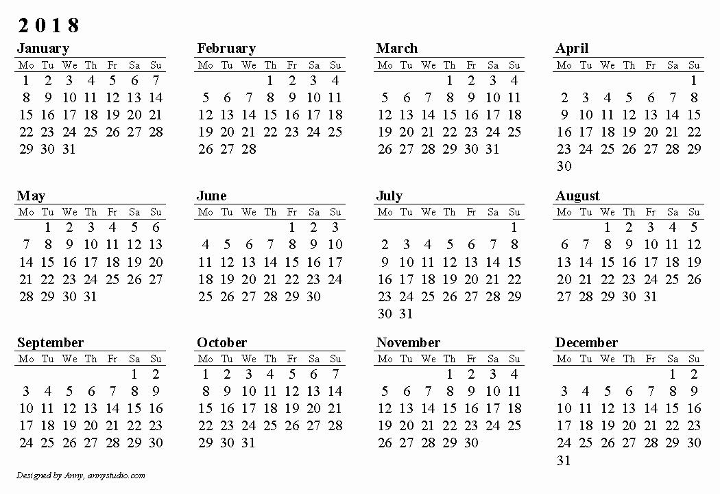 2017-2018 Blank Calendar Inspirational Blank 2018 Calendar