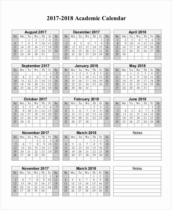 2017-2018 Blank Calendar Lovely 10 Sample Printable Calendars