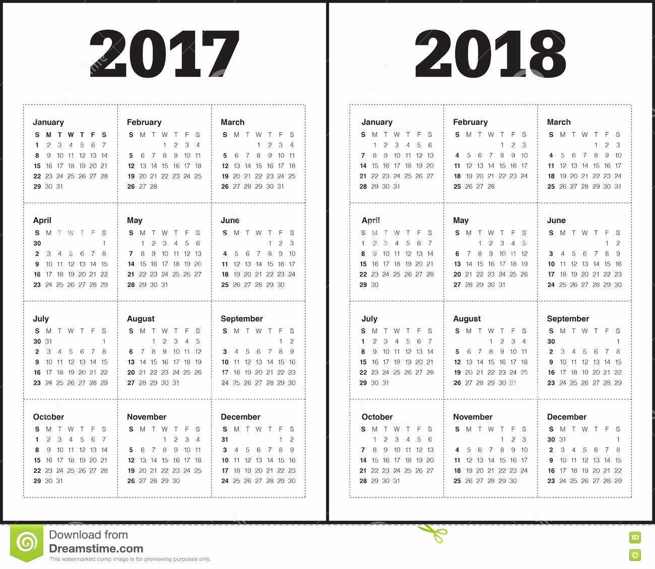 2017-2018 Blank Calendar Lovely Simple Calendar Template for 2017 and 2018 Stock Vector