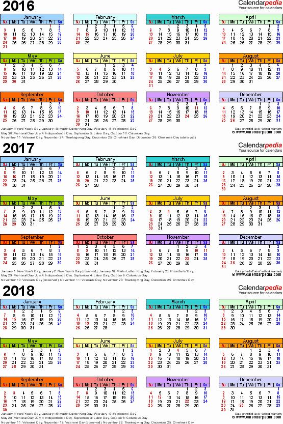 2017-2018 Blank Calendar Luxury 2016 2017 2018 Calendar 4 Three Year Printable Word