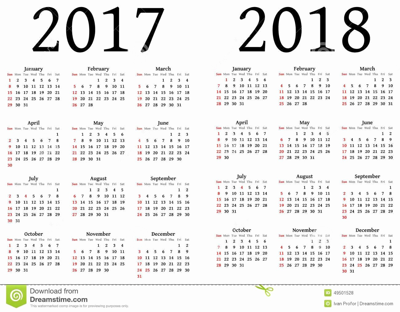 2017-2018 Blank Calendar Luxury Printable Calendar 2017 and 2018