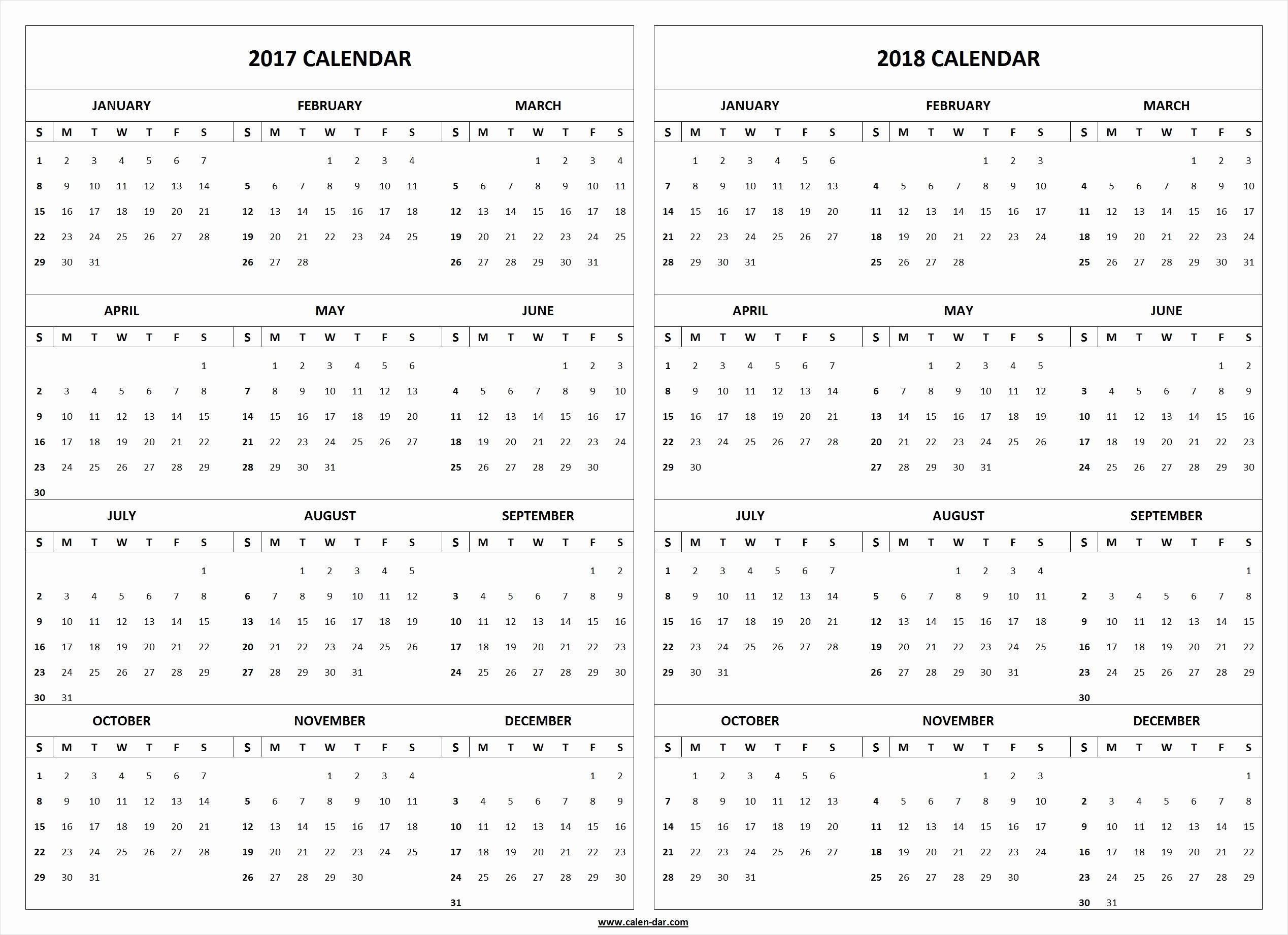 2017-2018 Blank Calendar New 2017 2018 Calendar Printable Template