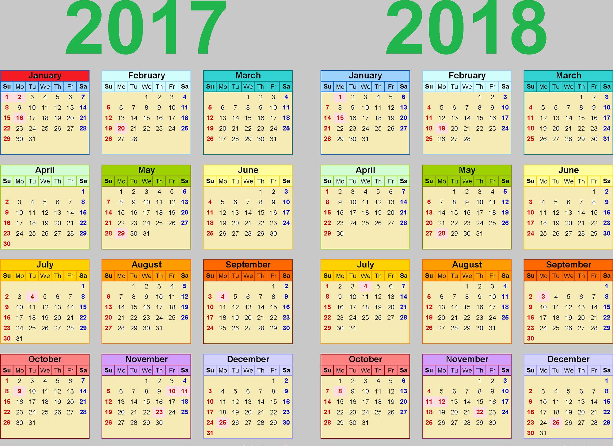 2017-2018 Blank Calendar New 2017 2018 Printable Calendars
