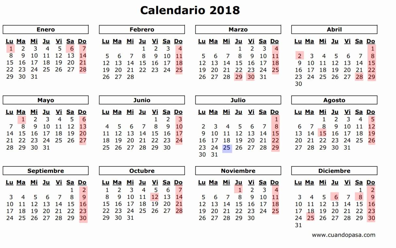 2017-2018 Printable Calendar Awesome Calendario 2018