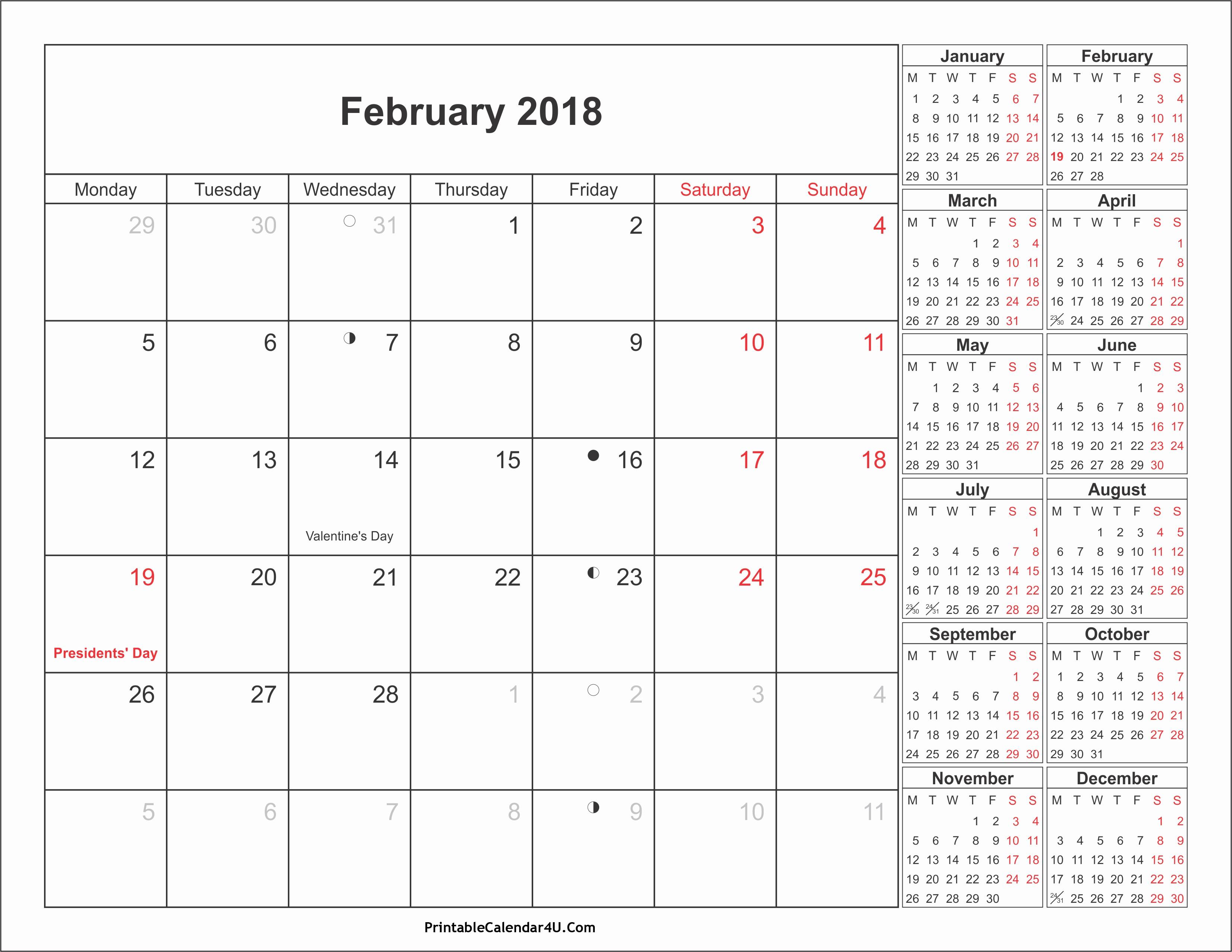 2017-2018 Printable Calendar Awesome February 2018 Calendar with Holidays