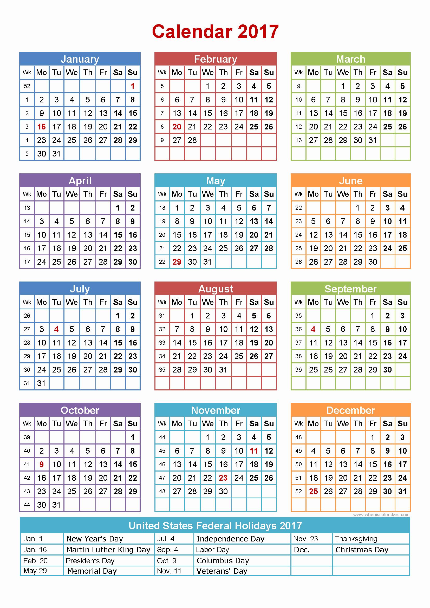 2017-2018 Printable Calendar Elegant 2017 Calendar with Holidays