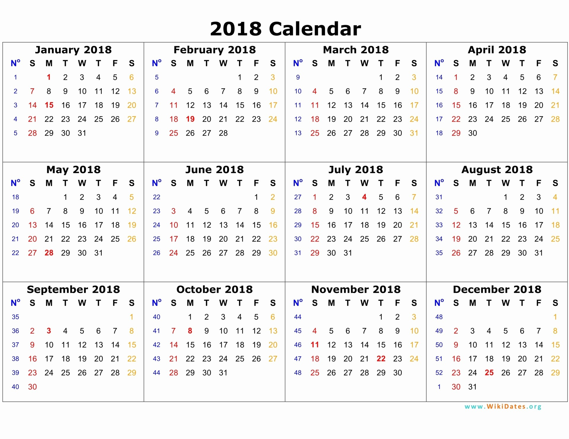 2018 calendar printable with holidays
