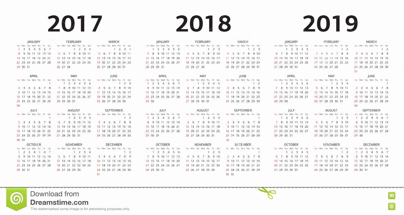 2017-2018 Printable Calendar Elegant Vector Calendar Templates 2017 2018 2019 Stock Vector