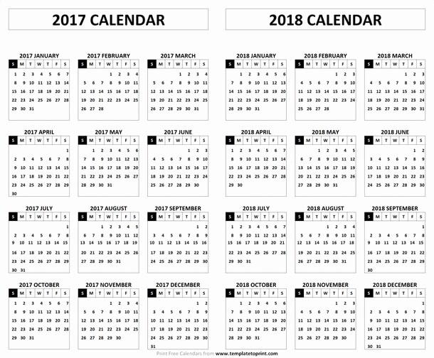 2017-2018 Printable Calendar Fresh 2017 2018 Calendar Printable Template Pdf