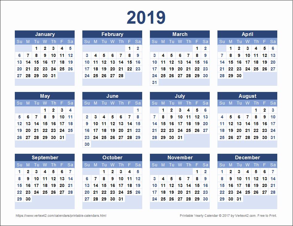 2017-2018 Printable Calendar Fresh 2019 Calendar Printable