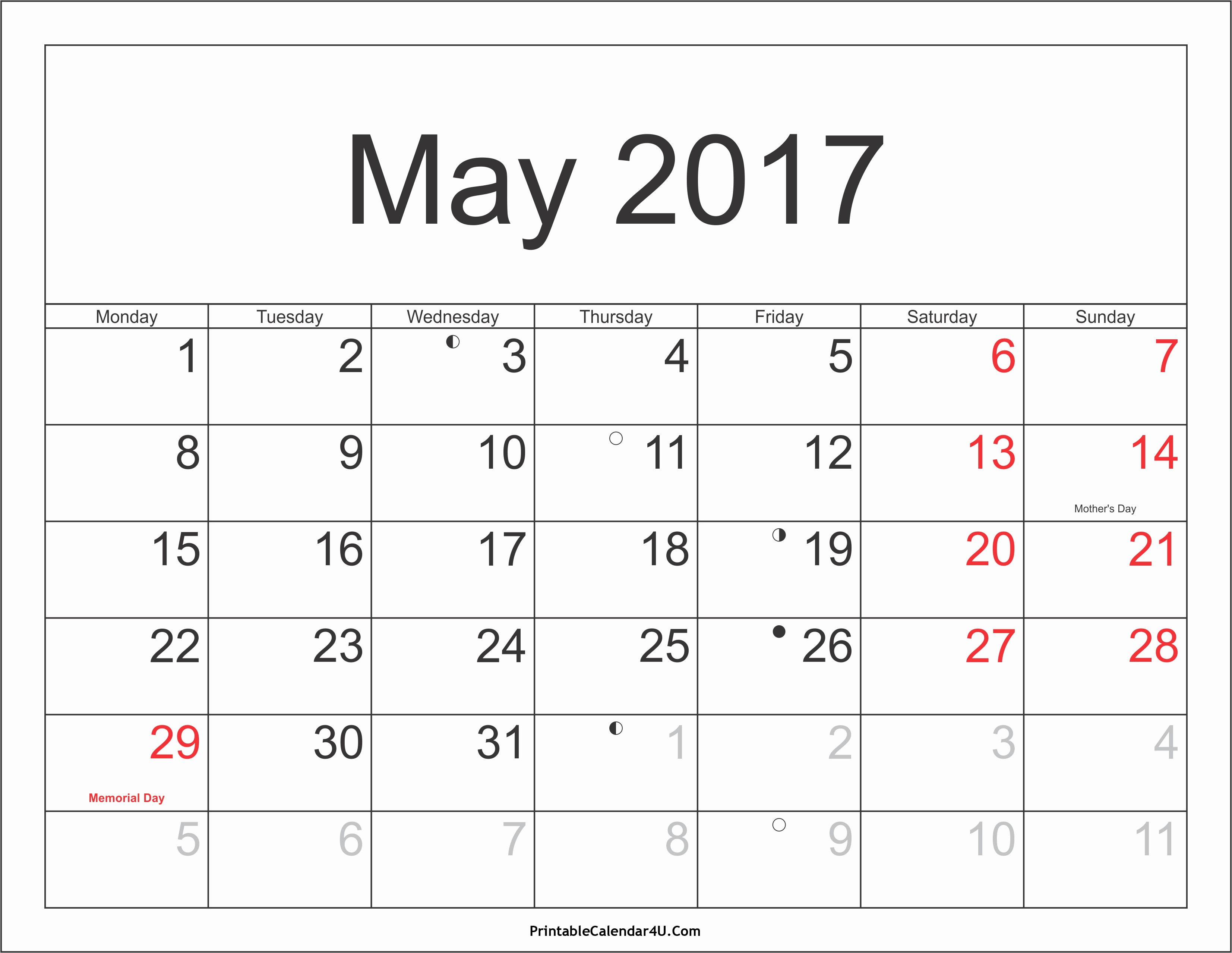 2017-2018 Printable Calendar Fresh May 2018 Calendar Printable with Holidays