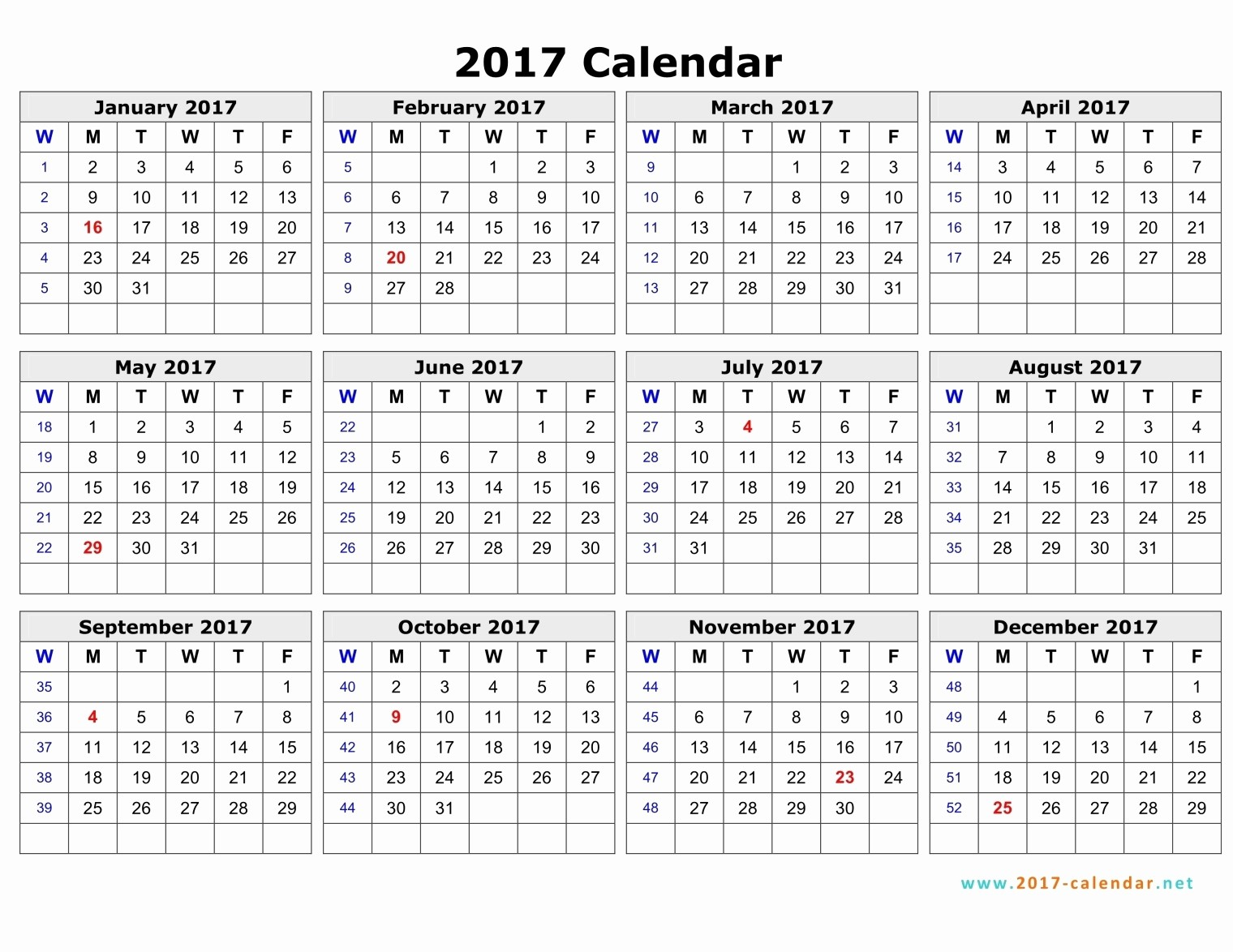 2017-2018 Printable Calendar Inspirational Weekly Number Calendar 2017