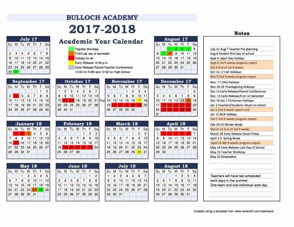 2017-2018 Printable Calendar Lovely School Calendar 2018