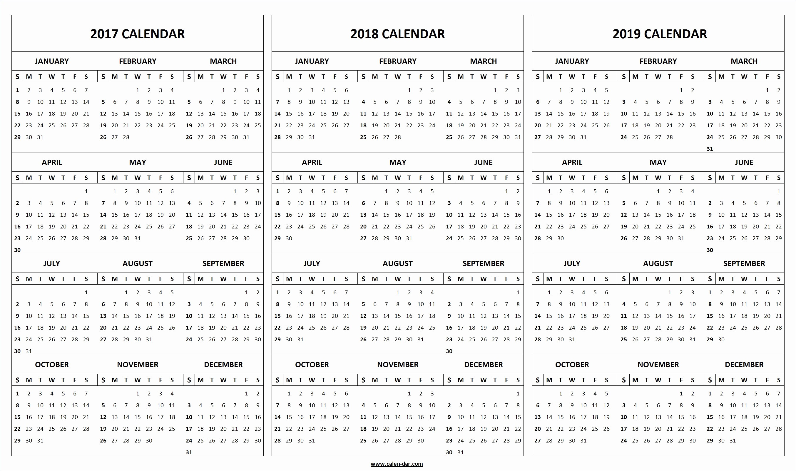 2017-2018 Printable Calendar Luxury Printable 3 Year Calendar 2017 to 2019 2017 2018 2019