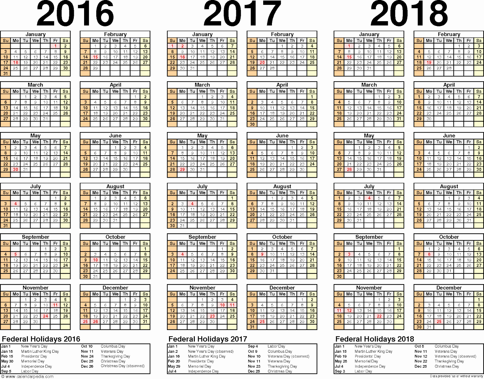 2017-2018 Printable Calendar New 2016 2017 2018 Calendar 3 Year Printable