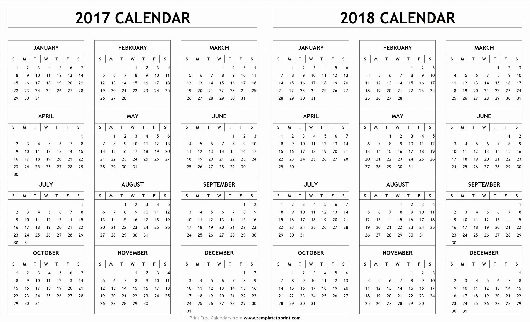 2017-2018 Printable Calendar New 2018 Calendar Pdf