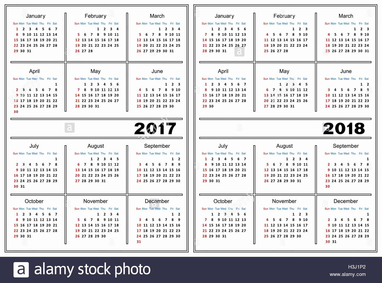 2017-2018 Printable Calendar New Calendar Template 2017 2018 Stock Vector Art