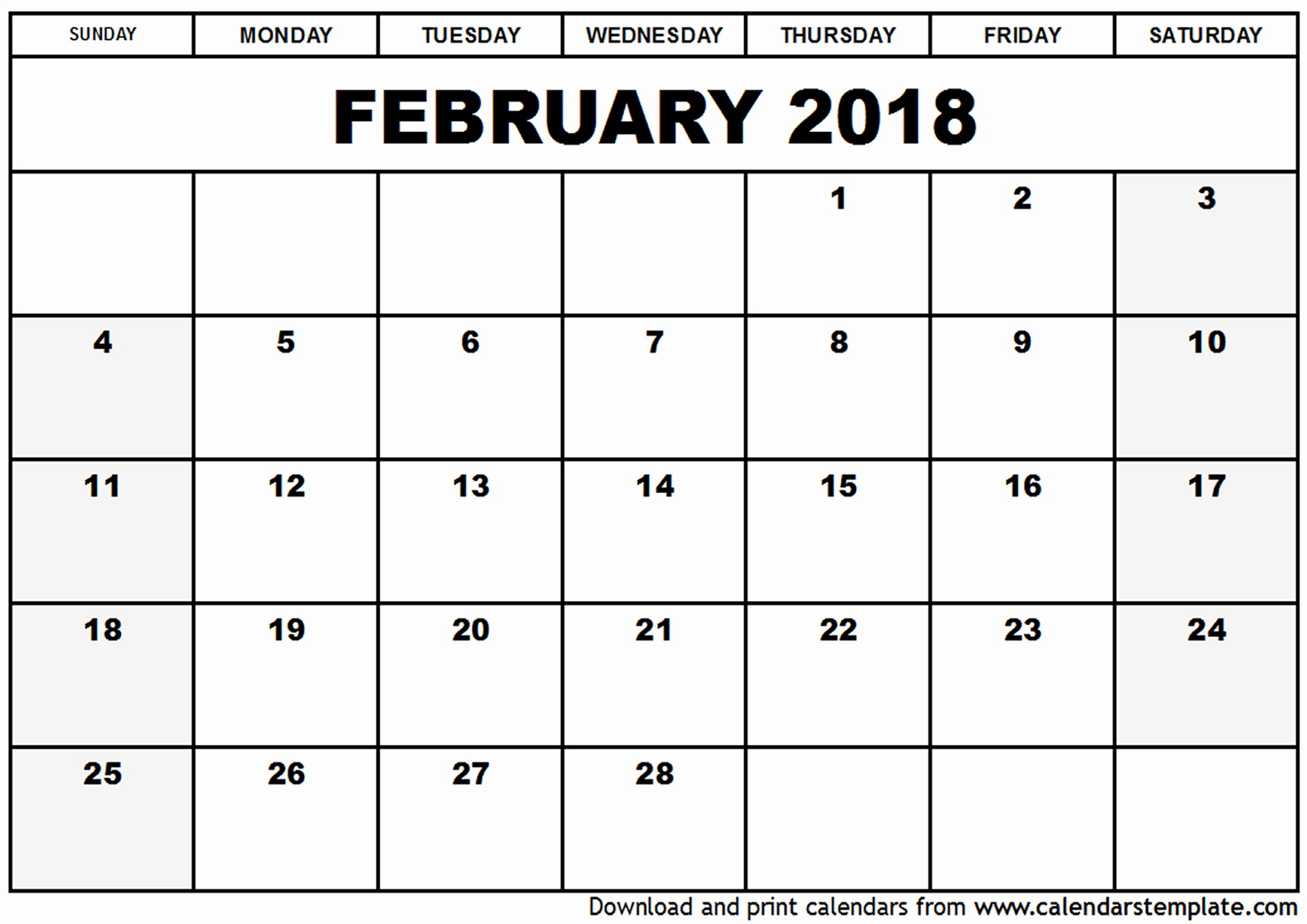 2017-2018 Printable Calendar New February 2018 Calendar
