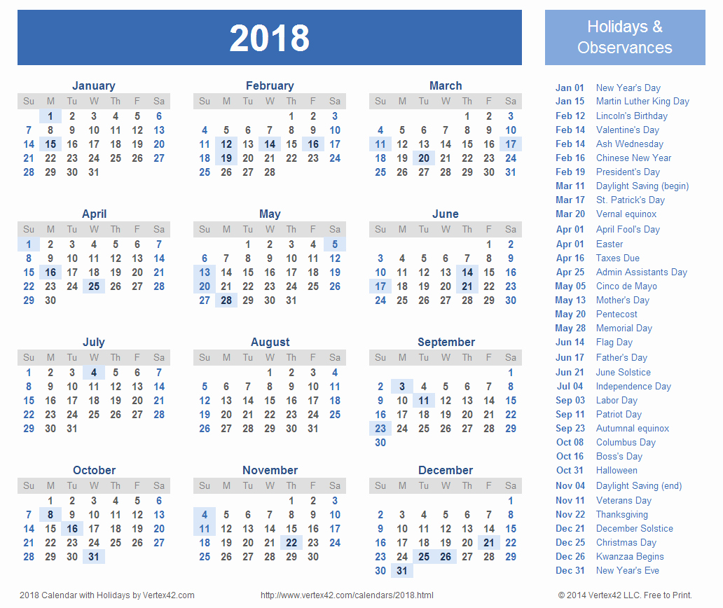 2017-2018 Printable Calendar Unique 2018 Calendar with Holidays