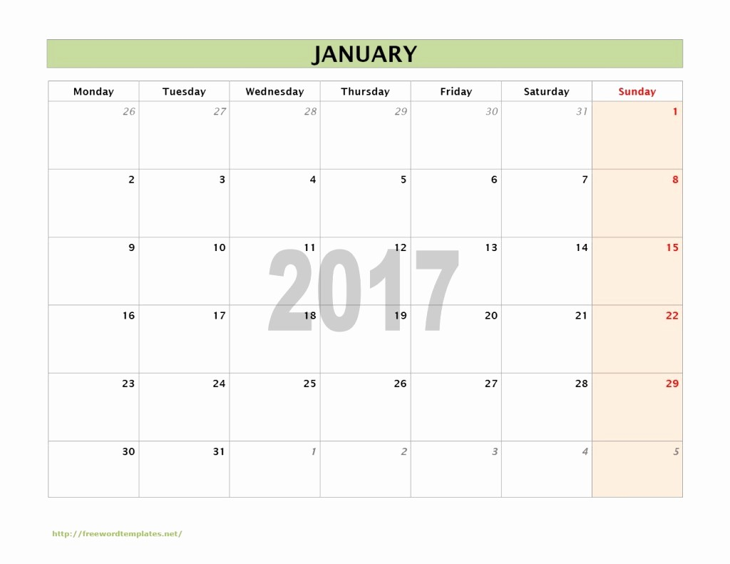 2017 Calendar Month by Month Awesome 2017 Calendar Templates