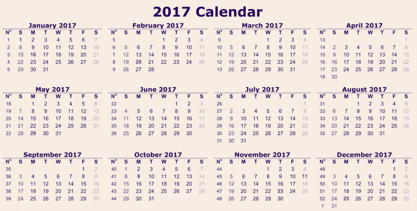 2017 Calendar Month by Month Beautiful 12 Month Calendar 2017