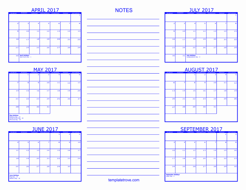 2017 Calendar Month by Month Beautiful 6 Month Calendar 2017