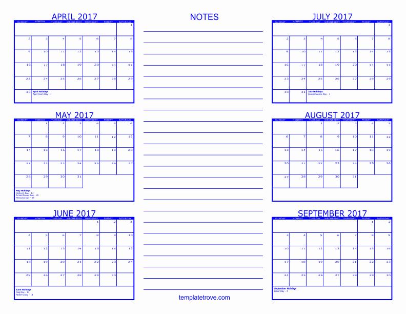 2017 Calendar Month by Month Beautiful 6 Month Calendar 2017