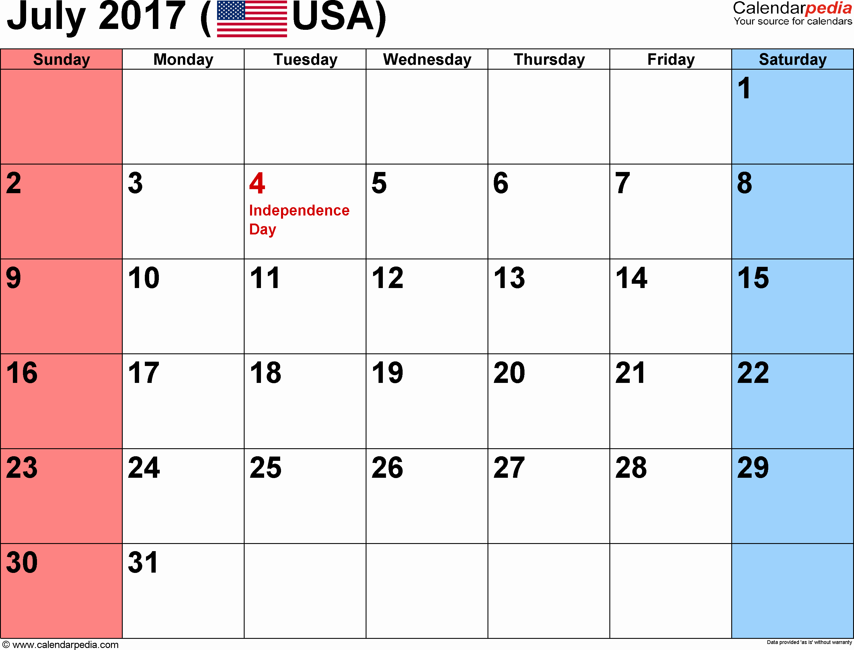 2017 Calendar Month by Month Best Of July 2017 Calendars for Word Excel & Pdf