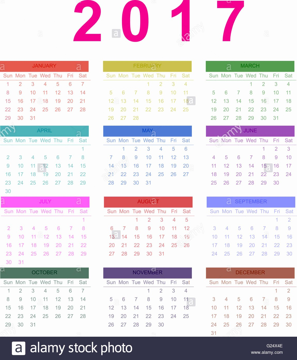2017 Calendar Month by Month Elegant Calendar 2017 Monthly Calendar Of 2017 Stock