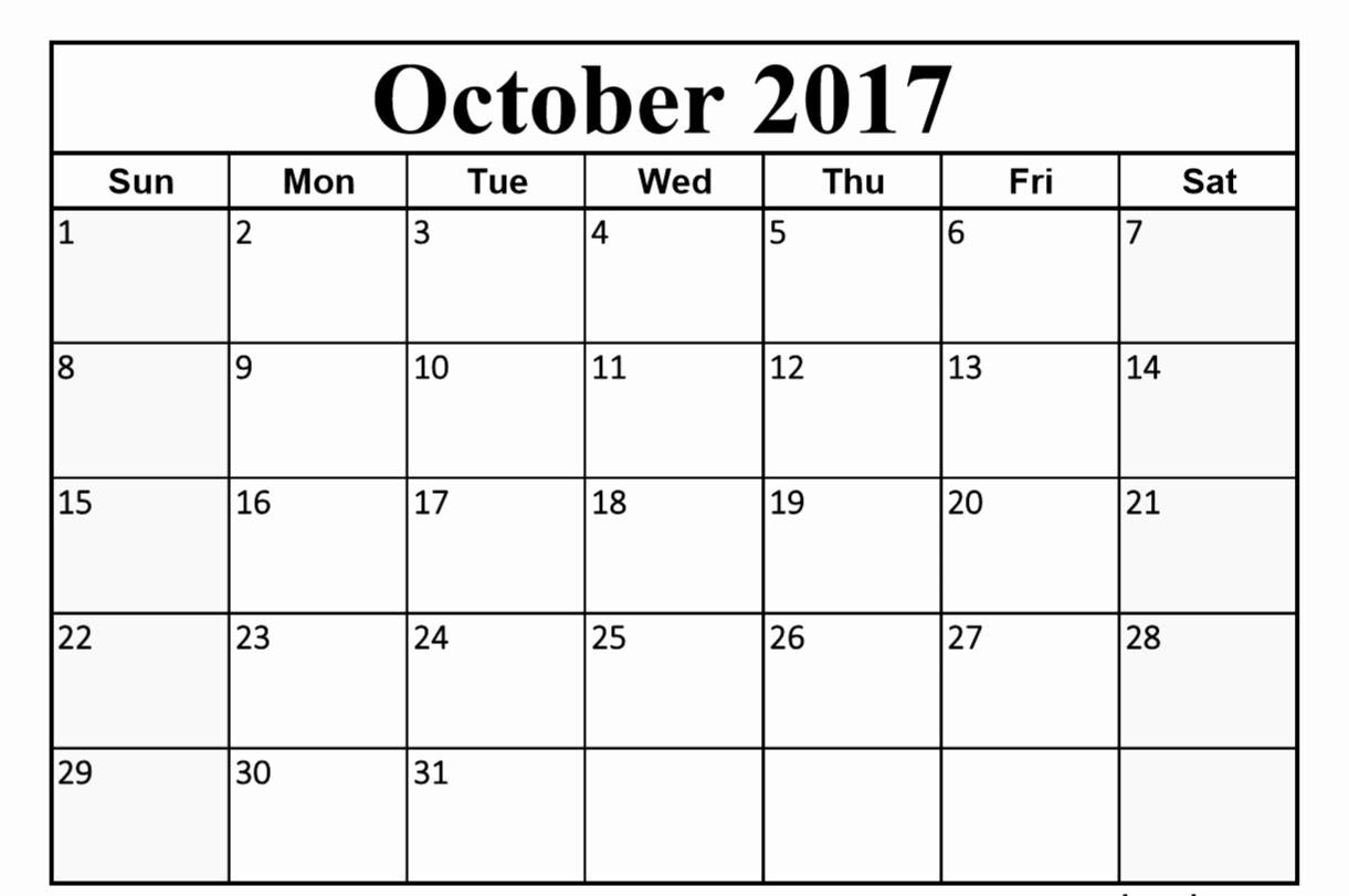 2017 october month calendar