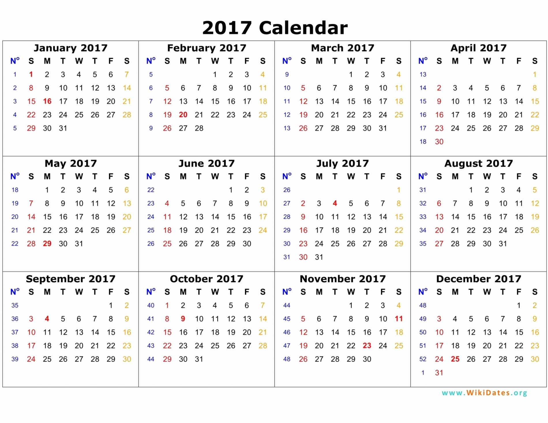 2017 Calendar Month by Month Luxury 12 Month Calendar 2017