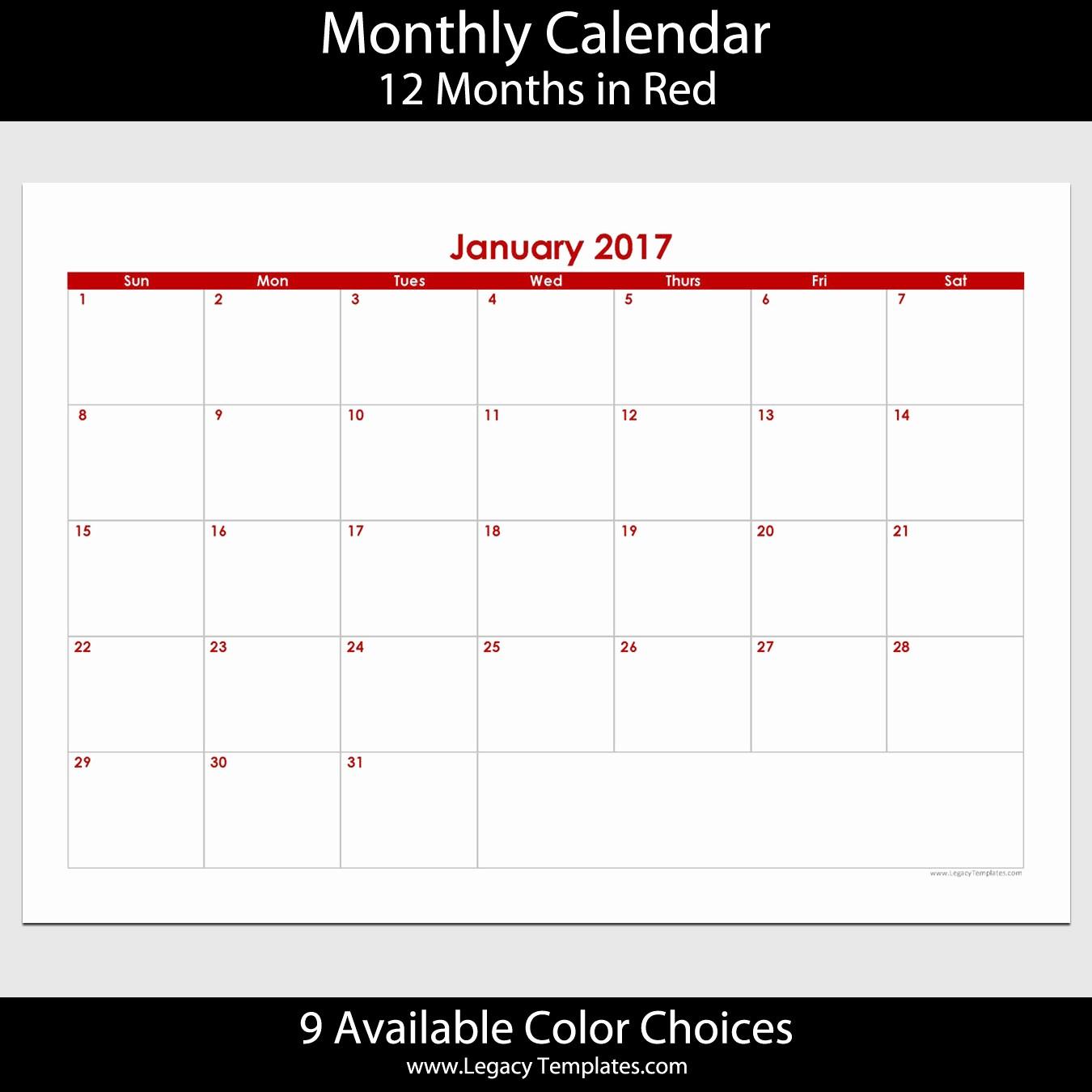 2017 Calendar Month by Month New 2017 12 Month Landscape Calendar – A5