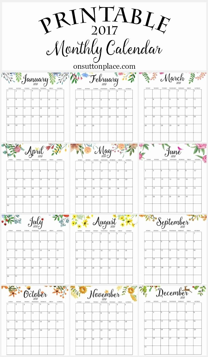 2017 Calendar Month by Month New 2017 Free Printable Monthly Calendar