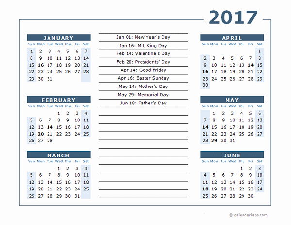 2017 Calendar Month by Month Unique 2017 Calendar Template 6 Months Per Page Free Printable