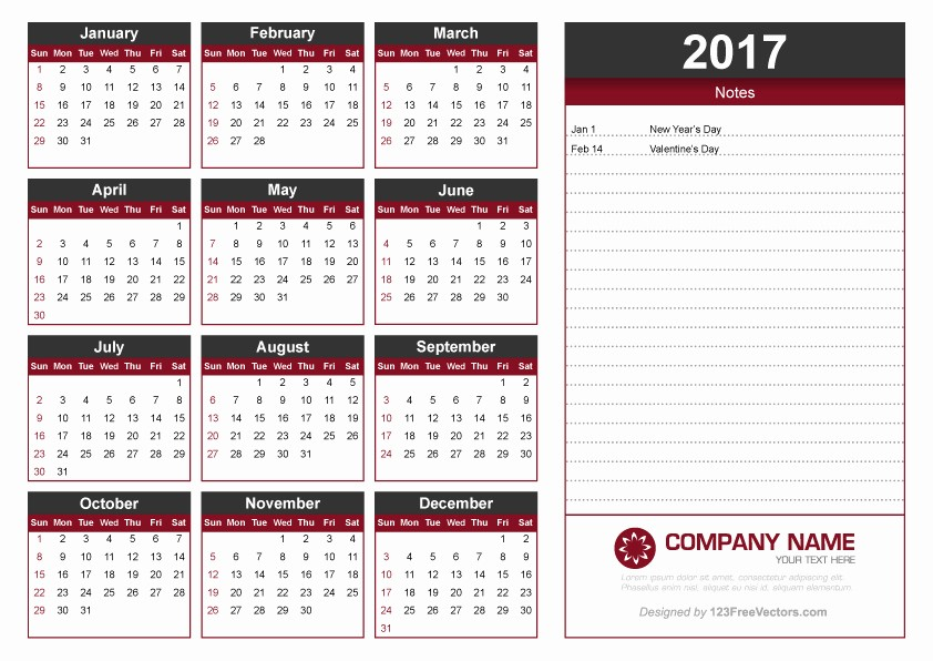 2017 Calendar Template with Notes Awesome 2017 Calendar Template with Notes by 123freevectors On