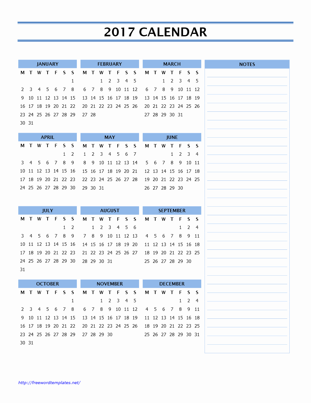 2017 Calendar Template with Notes Awesome 2017 Calendar Templates
