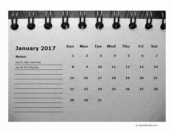 2017 Calendar Template with Notes Awesome 2017 Monthly Calendar Template Room for Notes Free