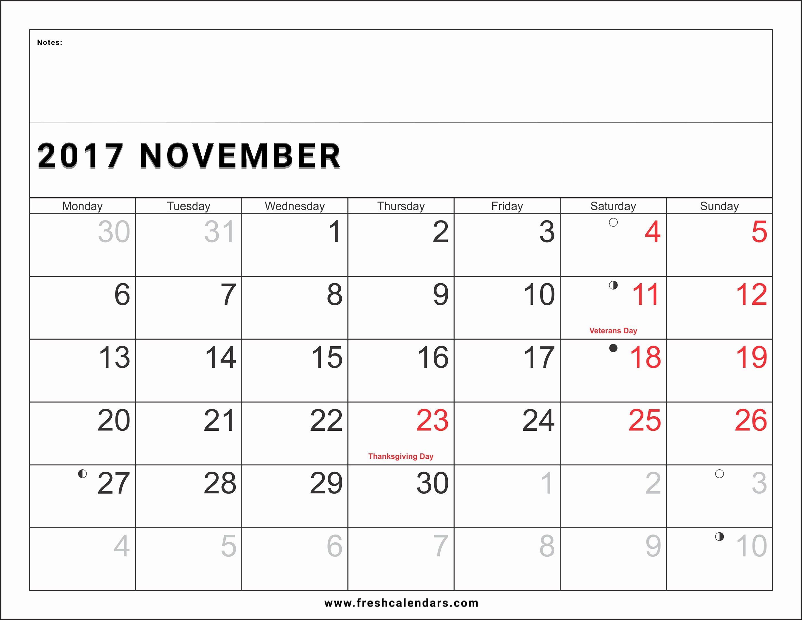 2017 Calendar Template with Notes Awesome Blank November 2017 Calendar Printable Templates