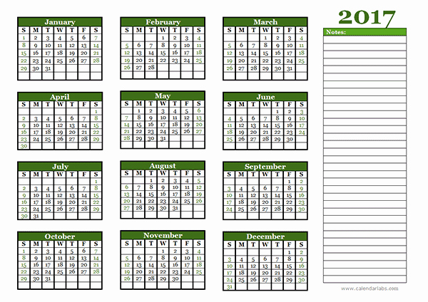 2017 Calendar Template with Notes Beautiful 2017 Yearly Calendar with Blank Notes Free Printable