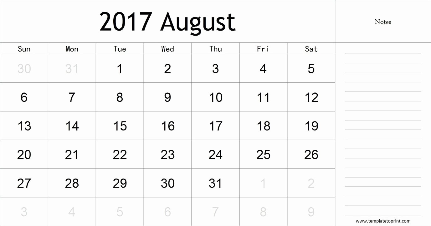2017 Calendar Template with Notes Beautiful August 2017 Calendar with Notes Pdf Blank Calendar
