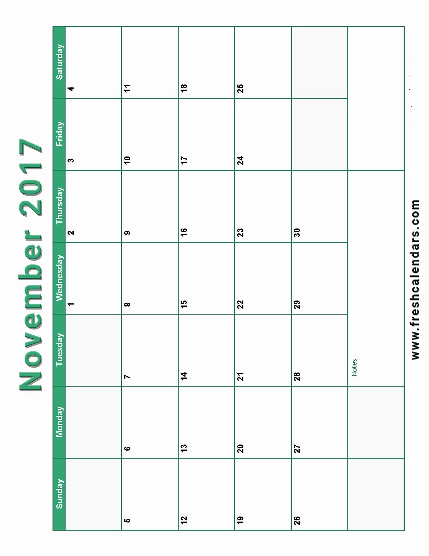 2017 Calendar Template with Notes Beautiful November 2017 Calendar Printable Templates