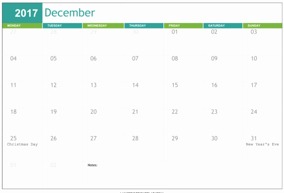 2017 Calendar Template with Notes Beautiful Printable December 2017 Calendar with Notes