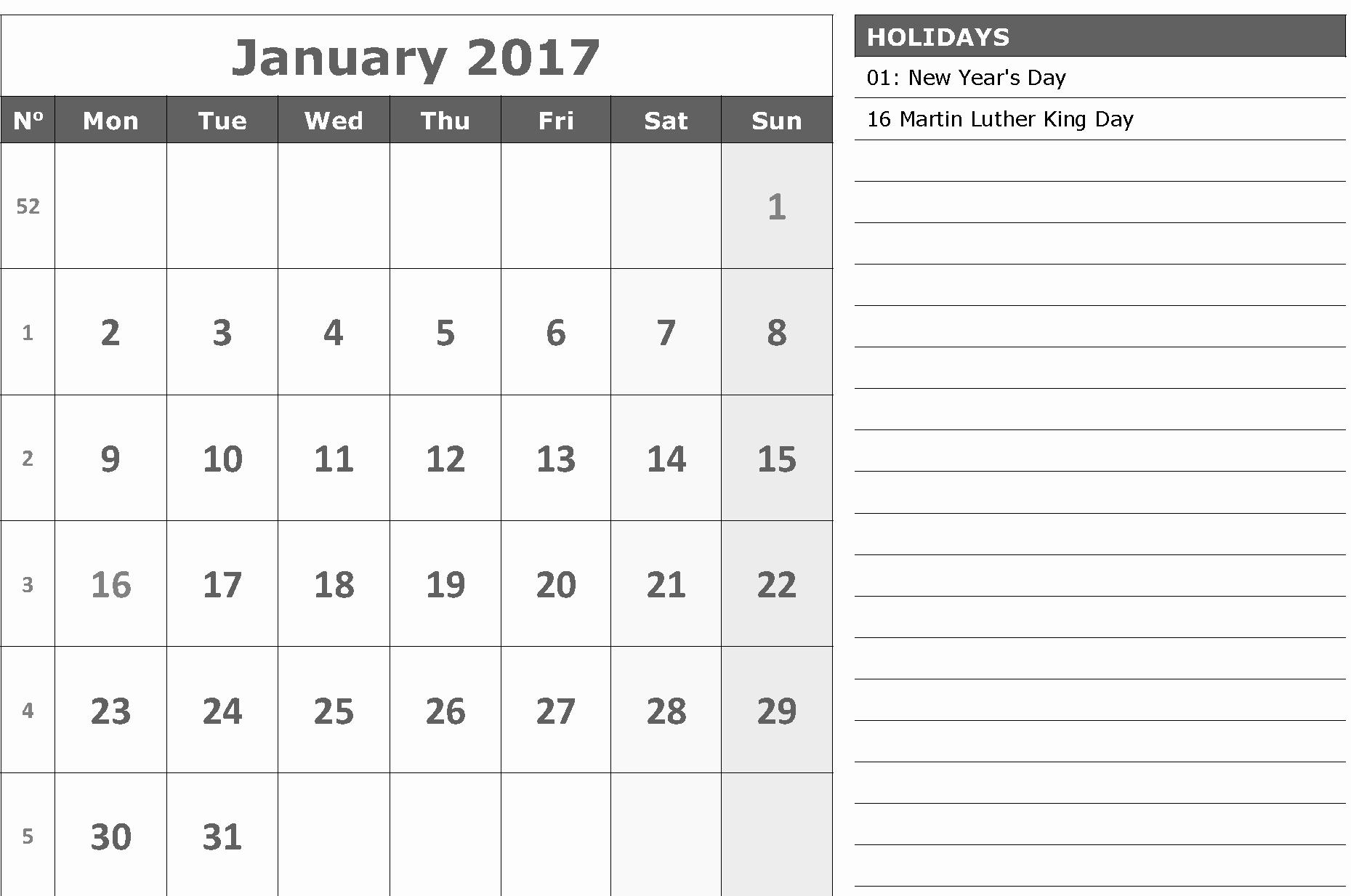 2017 Calendar Template with Notes Elegant Calendar 2017