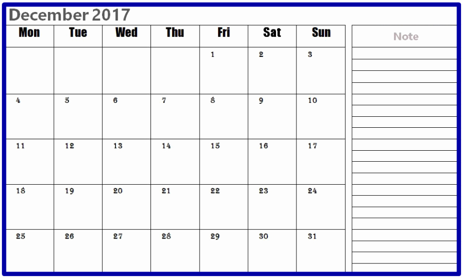 2017 Calendar Template with Notes Elegant December 2017 Calendar with Notes Printable