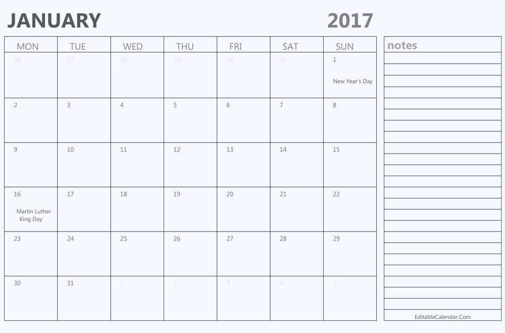 2017 Calendar Template with Notes Elegant Printable