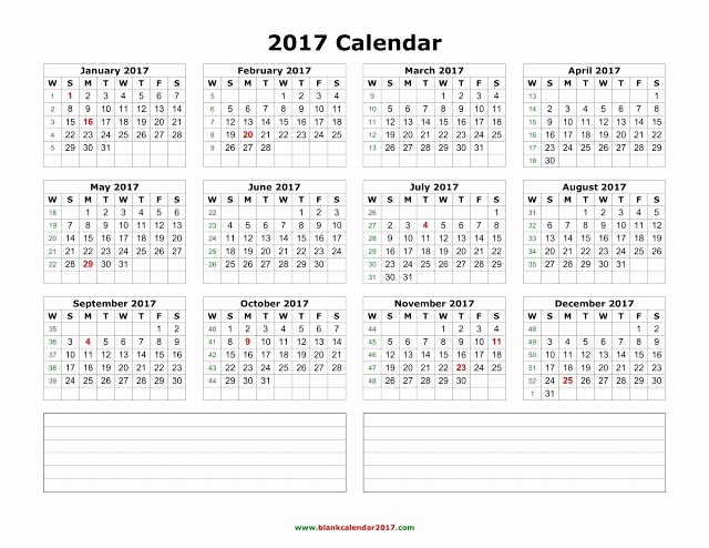 2017 Calendar Template with Notes Fresh 10 Yearly Calendar 2018 Templates Pdf Word Excel Get