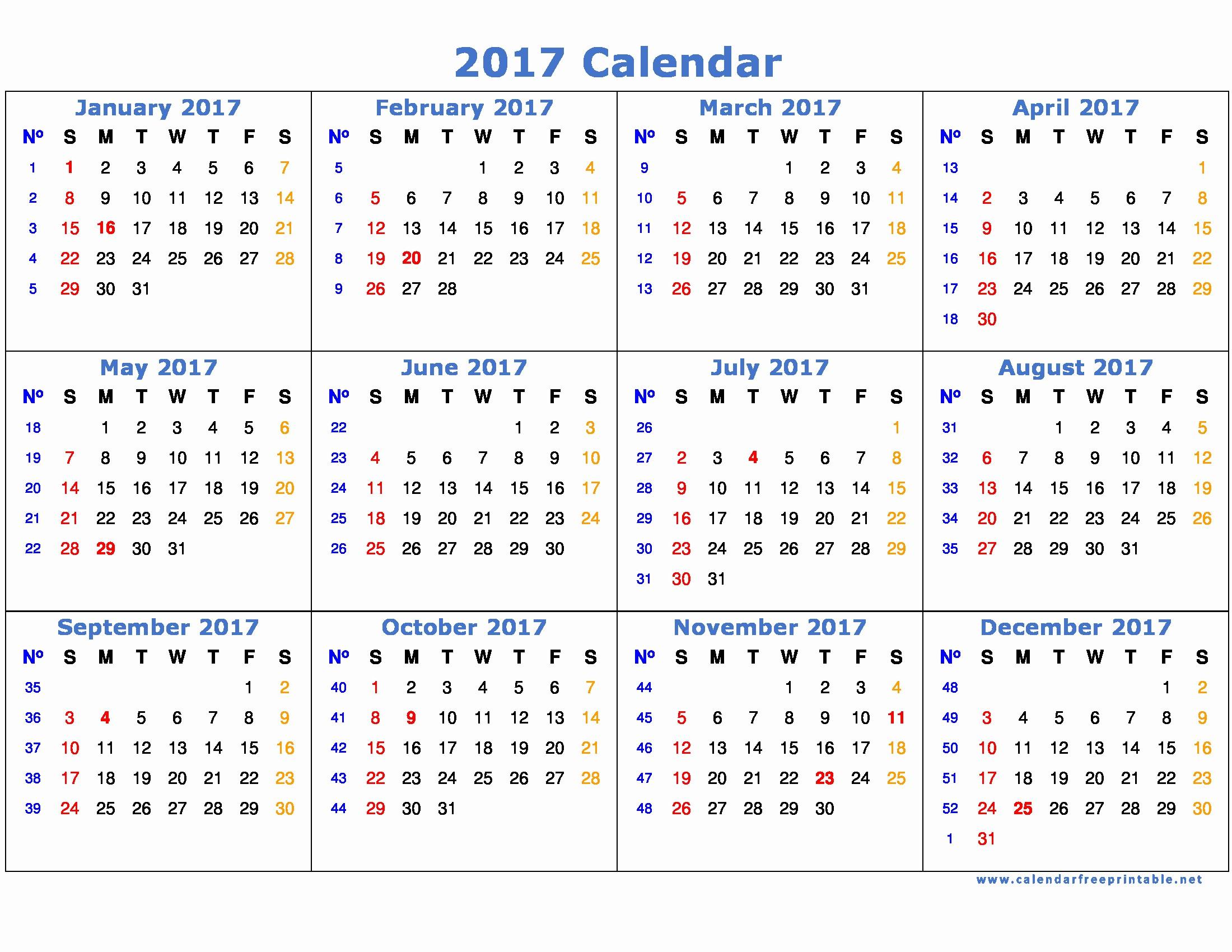2017 Calendar Template with Notes Fresh 2017 Calendar Template