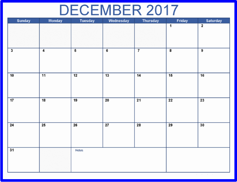 2017 Calendar Template with Notes Inspirational December 2017 Calendar with Notes Printable