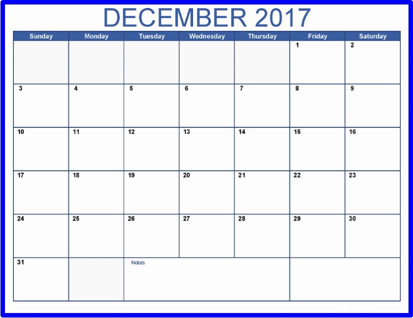2017 Calendar Template with Notes Inspirational December 2017 Calendar with Notes Printable