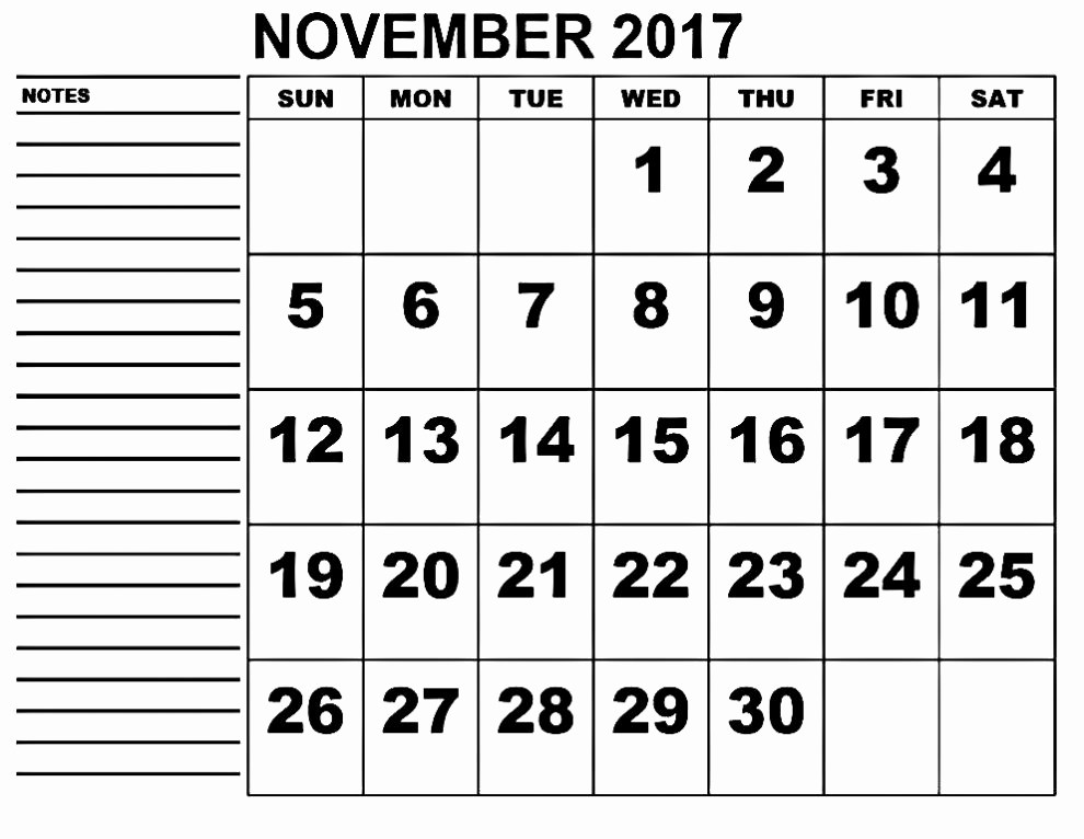 2017 Calendar Template with Notes Inspirational November 2017 Calendar with Notes